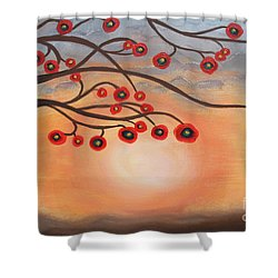 Shower Curtain featuring the painting Abstract Sunset by Jolanta Anna Karolska