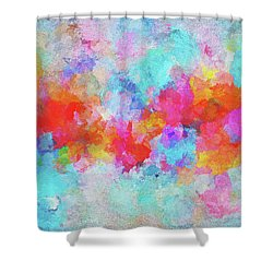 Shower Curtain featuring the painting Abstract Sunset Painting With Colorful Clouds Over The Ocean by Ayse Deniz