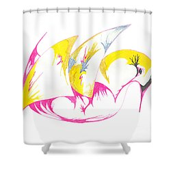 Abstract Swan Shower Curtain by Mary Mikawoz