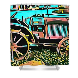 Shower Curtain featuring the digital art Abstract Tractor Los Olivos California by Floyd Snyder