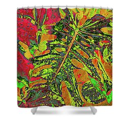 Abstract Tropical - Rusts And Lime Shower Curtain