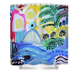 Abstract Tropical Landscape Shower Curtain by Amara Dacer