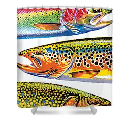 Abstract Trout Shower Curtain