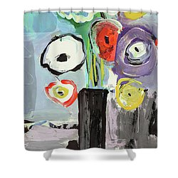 Abstract Vase Of Flowers II Shower Curtain