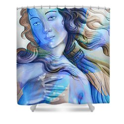 Shower Curtain featuring the painting Abstract Venus Birth 4 by J- J- Espinoza