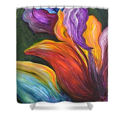 Abstract Vibrant Flowers Shower Curtain