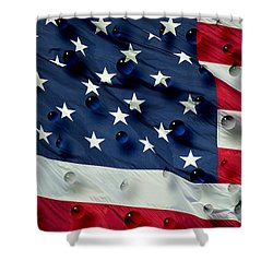 Shower Curtain featuring the painting Abstract Water Drops On Usa Flag by Georgeta Blanaru