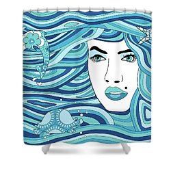 Abstract Water Element Shower Curtain by Serena King