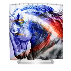 Shower Curtain featuring the painting Abstract White Horse 44 by J- J- Espinoza