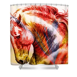 Shower Curtain featuring the painting Abstract White Horse 46 by J- J- Espinoza