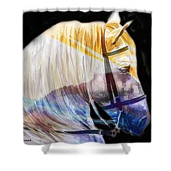Shower Curtain featuring the painting Abstract White Horse 50 by J- J- Espinoza