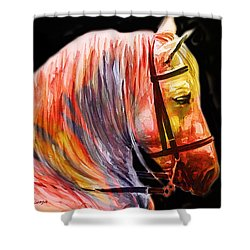 Shower Curtain featuring the painting Abstract White Horse 52 by J- J- Espinoza