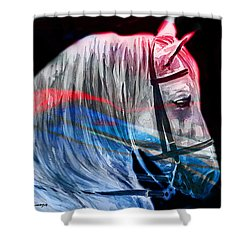 Shower Curtain featuring the painting Abstract White Horse 53 by J- J- Espinoza