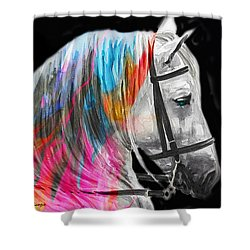 Shower Curtain featuring the painting Abstract White Horse 54 by J- J- Espinoza