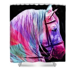 Shower Curtain featuring the painting Abstract White Horse 55 by J- J- Espinoza