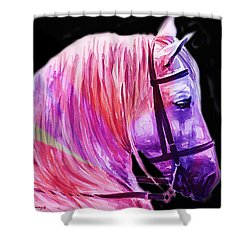 Shower Curtain featuring the painting Abstract White Horse 56 by J- J- Espinoza