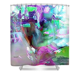Abstract Wine Glass Shower Curtain