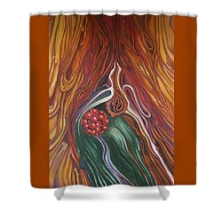 Abstraction With Red Balls Shower Curtain