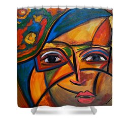 Abstract Woman With Flower Hat Shower Curtain