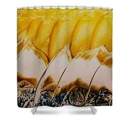 Abstract Yellow, White Waves And Sails Shower Curtain