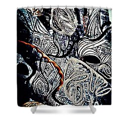 Abstraction In Silver Shower Curtain by Sarah Loft