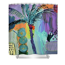 Abtract, Landscape With Palm Tree In California Shower Curtain