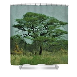 Shower Curtain featuring the digital art Acacia Tree And Termite Hills by Ernie Echols