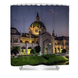 Academy Of Fine Arts, Sarajevo, Bosnia And Herzegovina At The Night Time Shower Curtain by Elenarts - Elena Duvernay photo