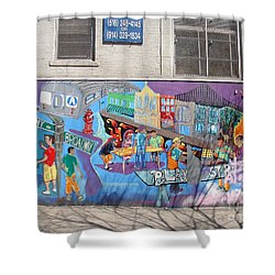 Academy Street Mural Shower Curtain by Cole Thompson