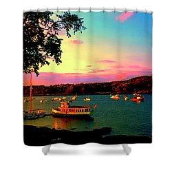 Shower Curtain featuring the photograph  Acadia Bar Harbor Sunset Cruises by Tom Jelen
