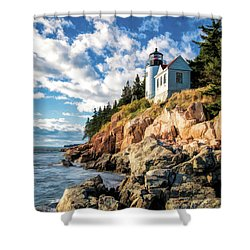 Shower Curtain featuring the painting Acadia Bass Harbor Lighthouse by Christopher Arndt