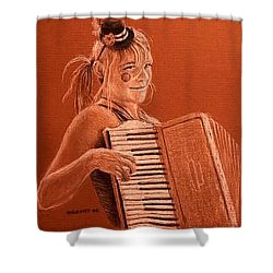 Accordion Girl Shower Curtain by Michael Beckett