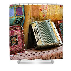 Accordion  With Colorful Pillows Shower Curtain by Yoel Koskas