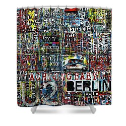 Achtung Baby Shower Curtain by Frank Van Meurs