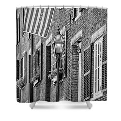 Acorn Street Details Bw Shower Curtain by Susan Candelario