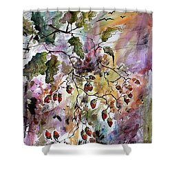 Shower Curtain featuring the painting Acorns Autumn Expression by Ginette Callaway