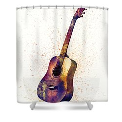 Acoustic Guitar Abstract Watercolor Shower Curtain