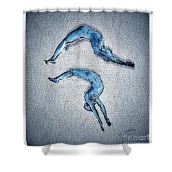 Acrobatic Gesture Shower Curtain