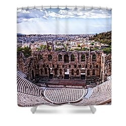Acropolis Shower Curtain by Linda Constant