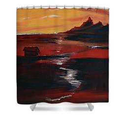 Across Amber Fields To The Sea Shower Curtain by Donna Blackhall