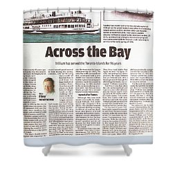 Shower Curtain featuring the painting Toronto Sun Article Across The Bay by Kenneth M Kirsch