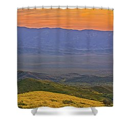 Across The Carrizo Plain At Sunset Shower Curtain