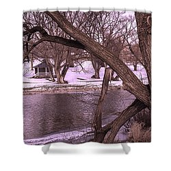 Across The River Shower Curtain by Anne Witmer
