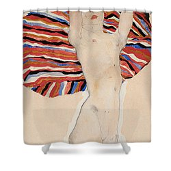 Act Against Colored Material Shower Curtain by Egon Schiele