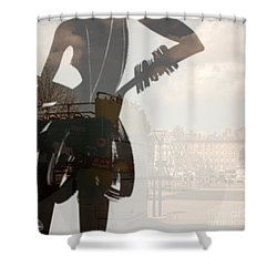 Ad Stand Reflection Shower Curtain