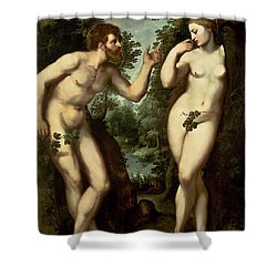 Adam And Eve Shower Curtain by Peter Paul Rubens