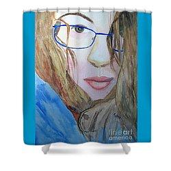 Addie In Blue Shower Curtain by Sandy McIntire