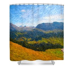 Adelboden Countryside Shower Curtain by Gerhardt Isringhaus