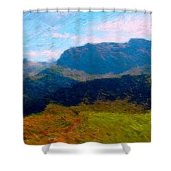 Adelboden With Hiker Shower Curtain by Gerhardt Isringhaus