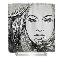 Adele Charcoal Sketch Shower Curtain by Dan Sproul